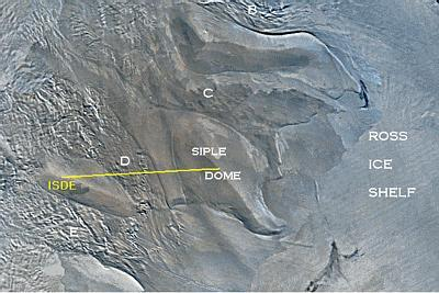 The confluence(ISDE) is located on a ridge of stable ice between ice streams D and E. It is 305 km from the field camp at Siple Dome.