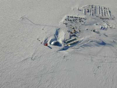 An aerial view of the south pole station