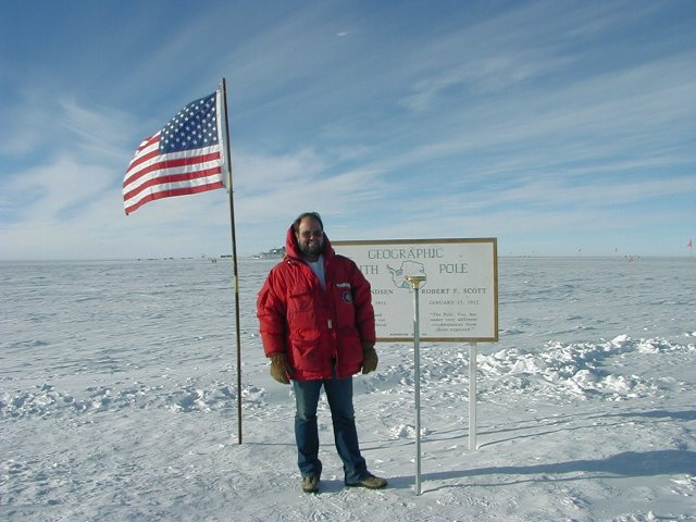 Here I am a the Geographic South Pole 2/2/00