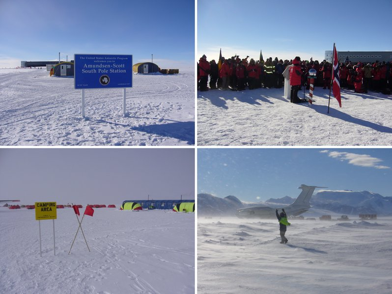 Welcome at visitor's centre · Prime minister Stoltenberg speaking at Ceremonial Pole · World's southernmost camp resort · Windy departure from Antarctica