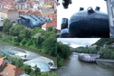 #10: Modern architecture in Graz - Kunsthaus Graz (above) and the Island on the Mur River (below)