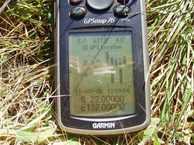 GPS display at 22S 132E