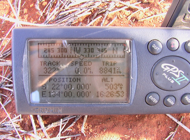 The GPS display 22S 134E.