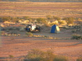 #7: Our campsite with the Confluence on the stoney plain in the background
