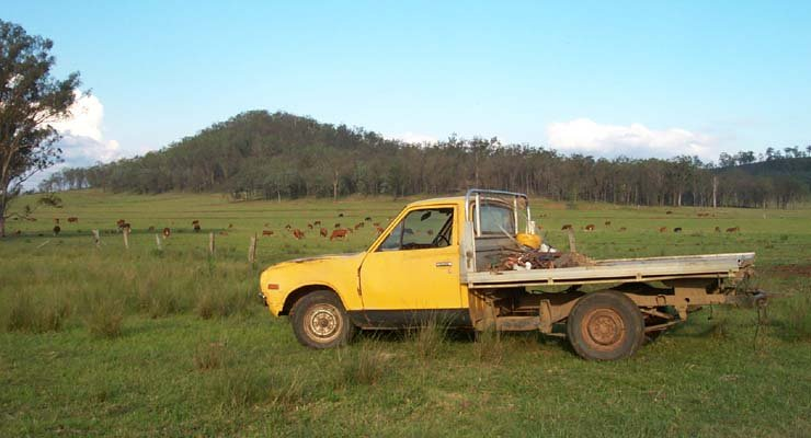 Neil's farm. The confluence is over the hill behind his ute.
