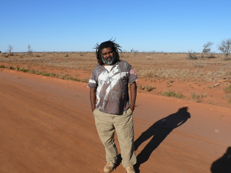 John Munji on the Dey-Dey road from Maralinga