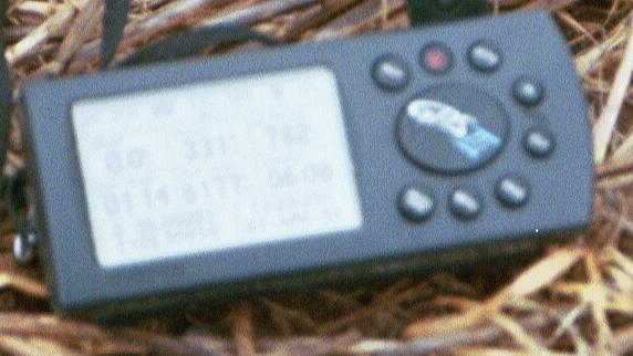 My GPS receiver's display at the confluence point (out-of-focus, unfortunately)