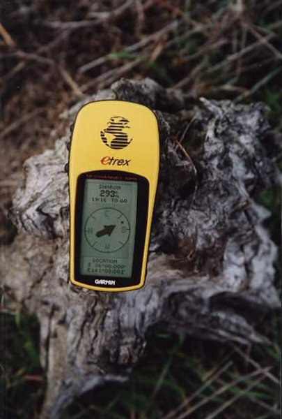 GPS on a mallee root stump.