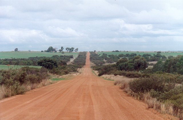 Roberts Road looking south towards the confluence 6 kms away