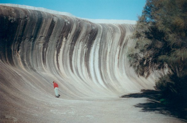 Wave Rock with Sarah as scale.