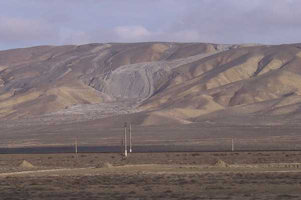 Mud volcano flow near Ali Bayramli Highway