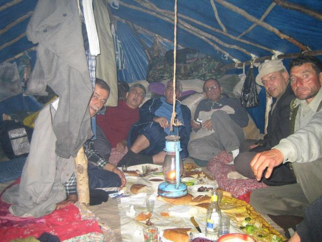 Night dinner in the shepherds shelter on the peak
