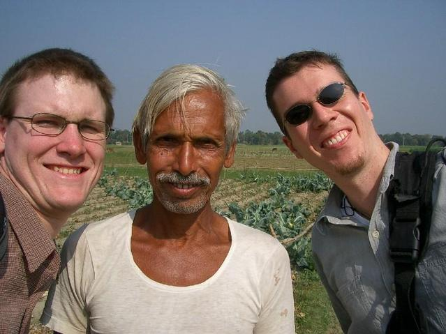 Waz Uddin the Landowner with Ben(L) and Andrew (R)