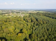 #9: View East towards the nearby village of Haut-Fays, from 90m above the point