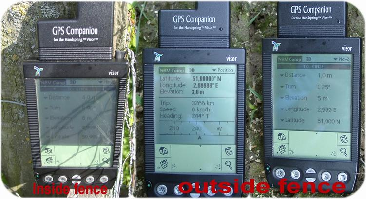 GPS reading inside/outside the fence