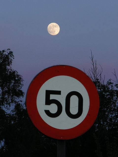 The full moon was shining over the road junction as I returned from the confluence.