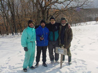 #1: At the confluence, pictured left to right are two of Villa Philadelphia's guides, Fetka and Zhorko, Villa Philadelphia's manager, Bobby Tetovski and Sinemoretz' historian and naturalist, Bai Stefan.