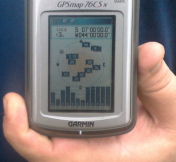 GPS showing the confluence 7S x 44W