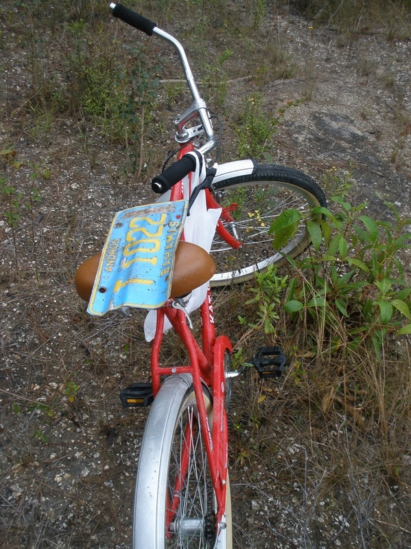 Mode of transport, with a Bahamian license plate that I found near the confluence