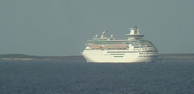 Norwegian passenger ship, just anchoring off Little Stirrup Cay