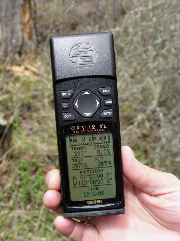 GPS indicating that we were at the confluence.