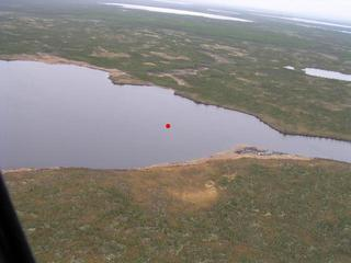 #1: The red dot indicates the exact spot over an unnamed lake.