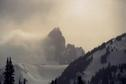 #2: Closeup view of The Black Tusk shrouded by clouds