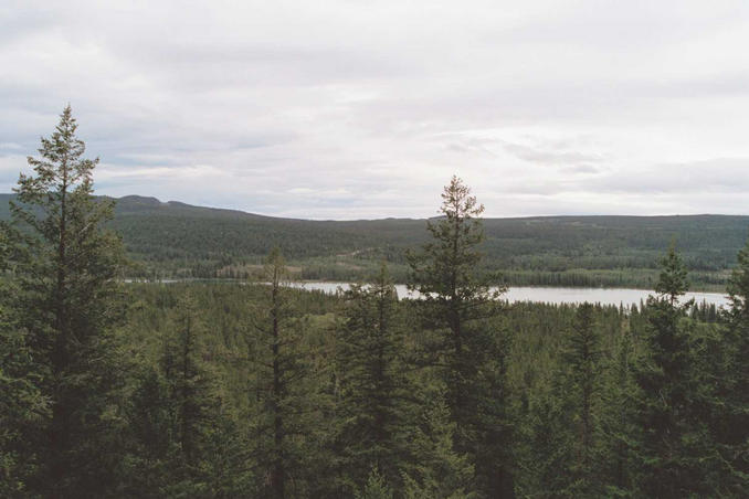 From viewpoint on Highway 20, above Pyper Lake - confluence is 13.8km SE