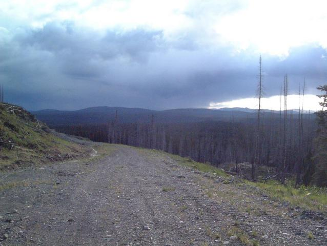 Looking south at trail head.  Chasing the rain.
