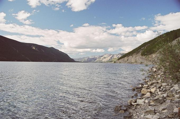 Muncho Lake, looking north, near Stawberry Flats
