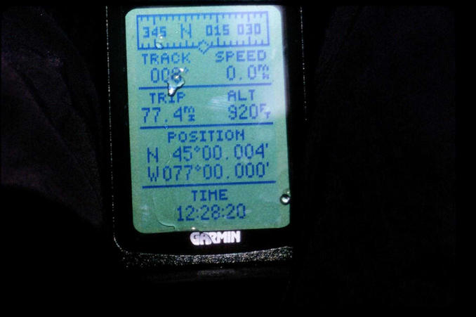 The GPS reading from the middle of the lake.