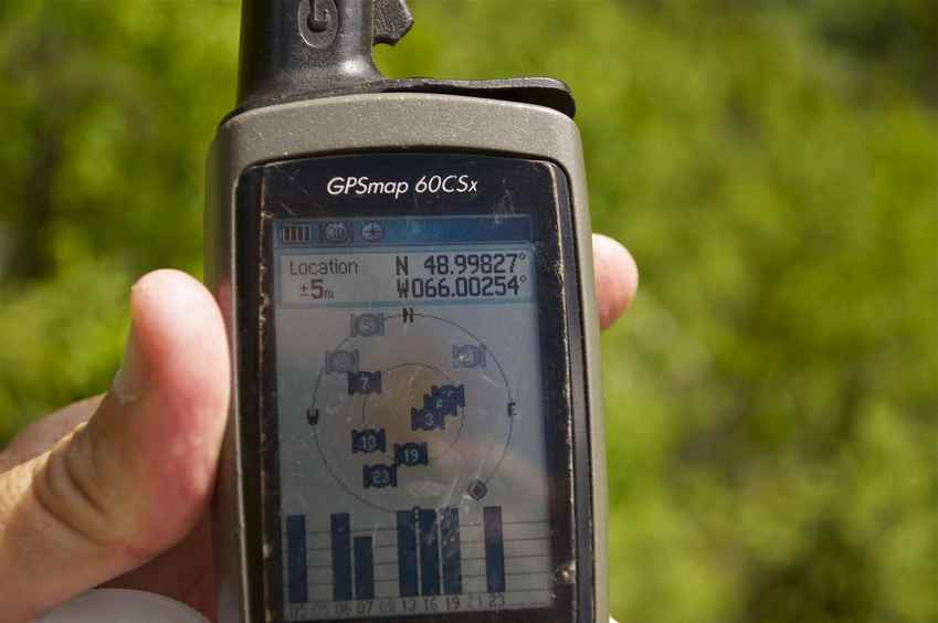 My GPS receiver, 266 metres from the confluence point