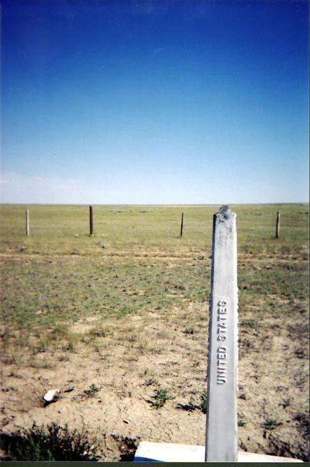 Looking north up the Alberta/Saskatchewan border from the US side