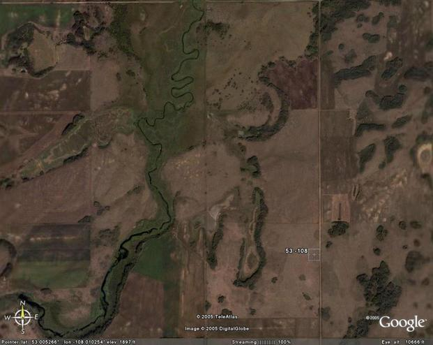 The confluence area as seen using Google Earth.