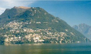 #1: Looking northwest across Lake Lugano, the city of Lugano lies adjacent to the confluence.