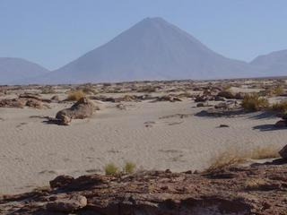 #1: Looking northeast towards confluence (6.13 kilometres away) and Licancabur Volcano