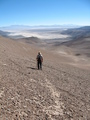 #10: Sharky walking on Guanaco trail back to camp.  View of Salar Pedernales.