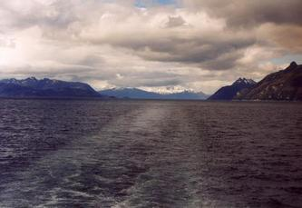 #1: South: Magdalena Strait and Mount Sarmiento in the clouds