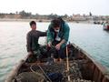 #10: Getting into sea snail fishing boat with Mazu temple in back.