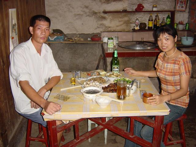 Lunch with Fan Guangmei (left) and Wei Jinying at their home in Xiadun Village