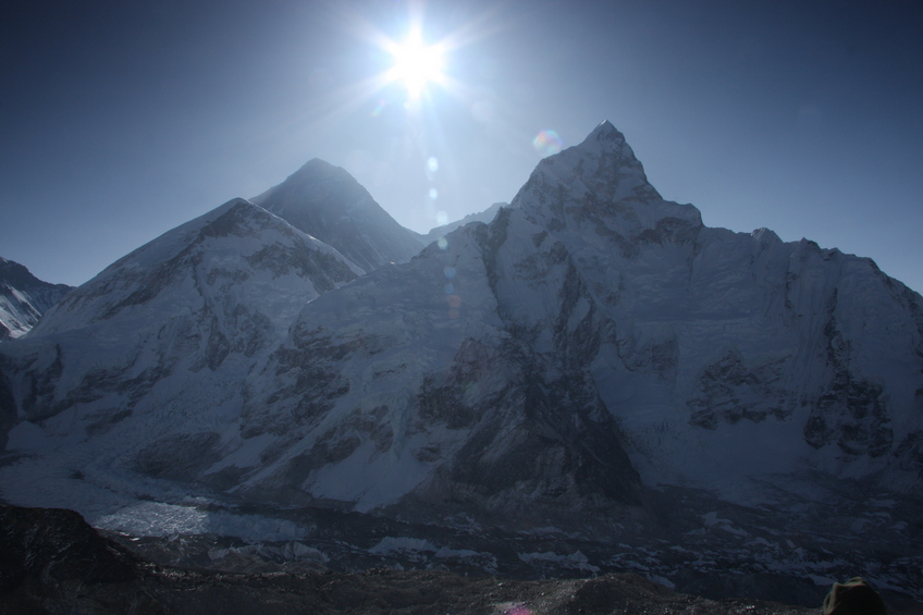 Sunrise over Mt. Everest, which in springtime means shooting directly into the sun from atop Kala Pattar (elevation 5550 meters and only half the oxygen you'd have at sea level).