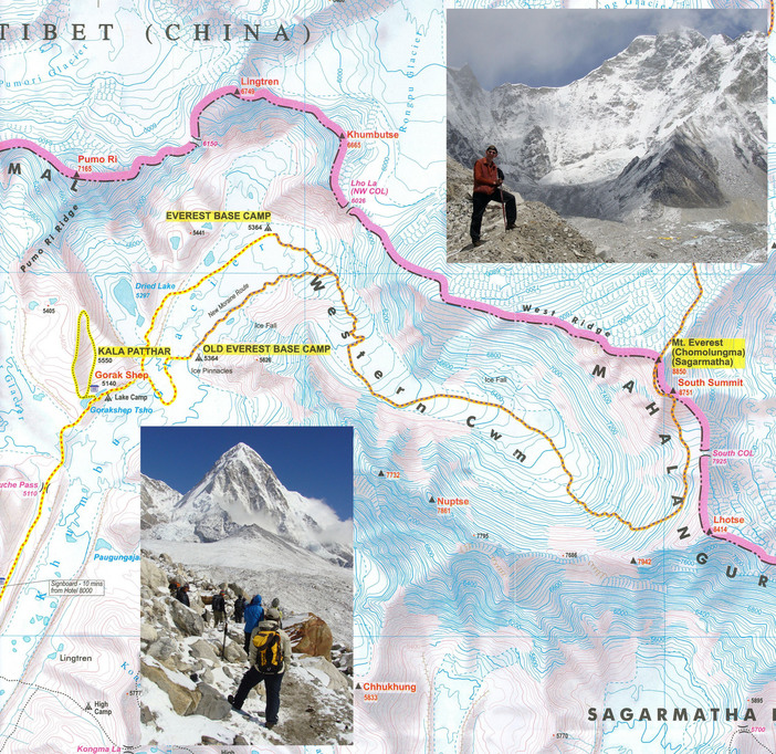 Route to Mt. Everest (Sagarmatha)(Chomolungma), with inserts of Kala Pattar and Everest Base Camp.