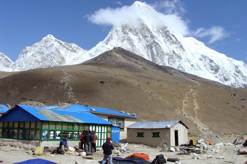 Looking from Gorak Shep past Kala Pattar to Pumo Ri, on the Nepal/Tibet border.
