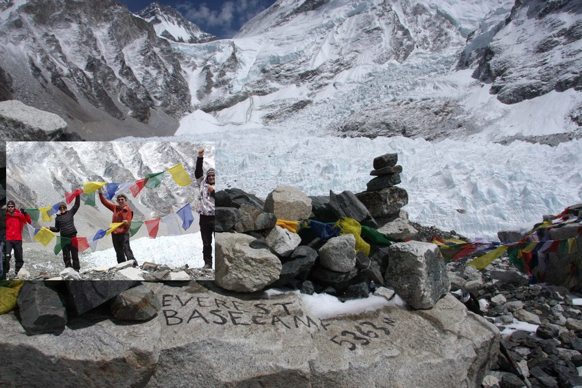 Celebrating at Everest Base Camp, from which there is no view of the world's highest mountain.