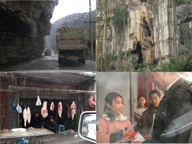 Waterfall carwash; cliff-face graves; butcher shop; school supplies for the daughter.