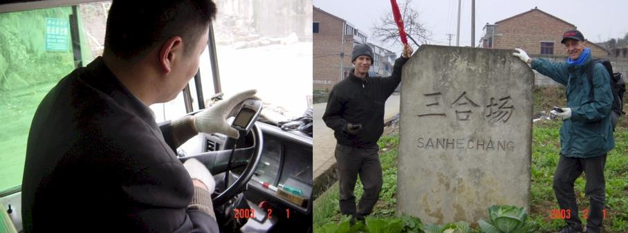 Chinese bus driver checking out the GPS - Village Sign with (left to right) Richard Jones and Peter Cao