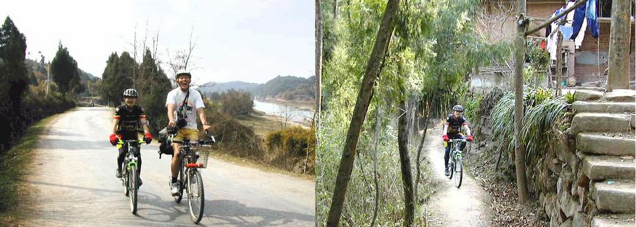 Godspeed and Larry on the road to the Confluence - Godspeed cycling on the single track through the bamboo grove / 踏车乡间行