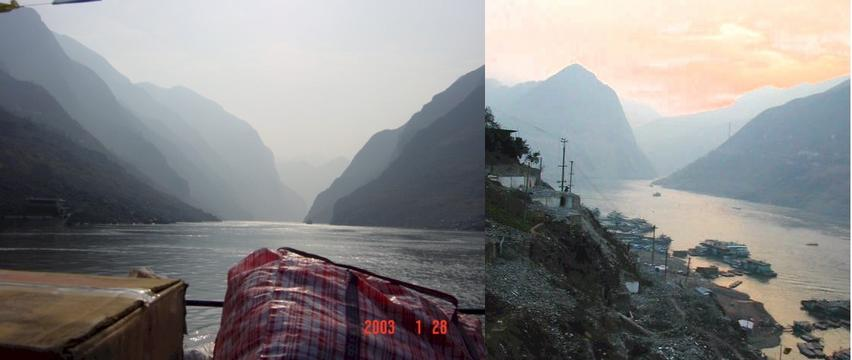 Yangtze River Wu Gorge from the deck of the ferry - Wu Gorge from the hills of Wushan at dawn.