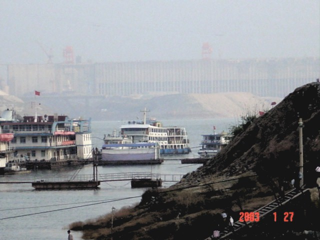 Docks at Zigui with the Three Gorges Dam (upstream side) in the background