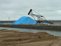 #2: Mound of salt covered in a blue tarpaulin
